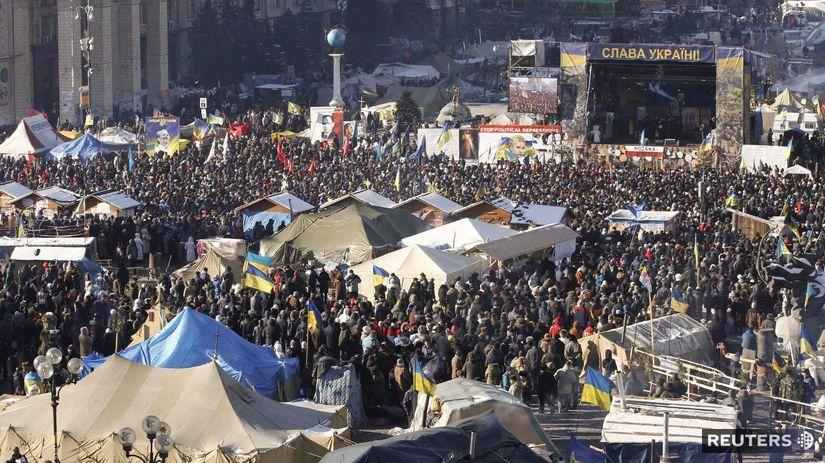 Ukrajina, Kyjev, demonštranti