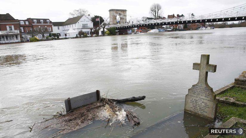 Temža, Anglicko, povodne,