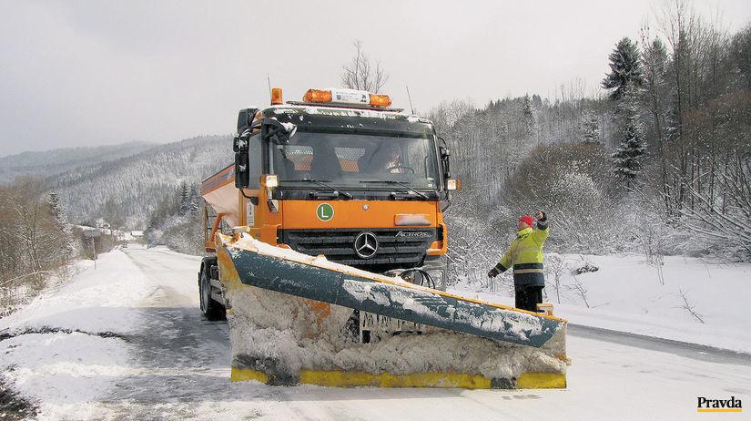 cesta, snežný pluh, Kysuce, zima
