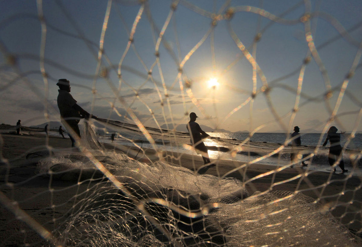Indonézia, rybári, siete
