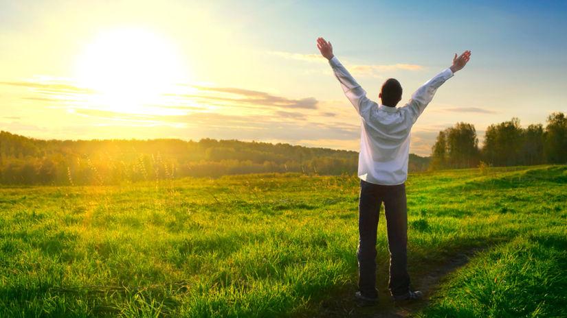 muž, voľno, šťastie, príroda, leto
