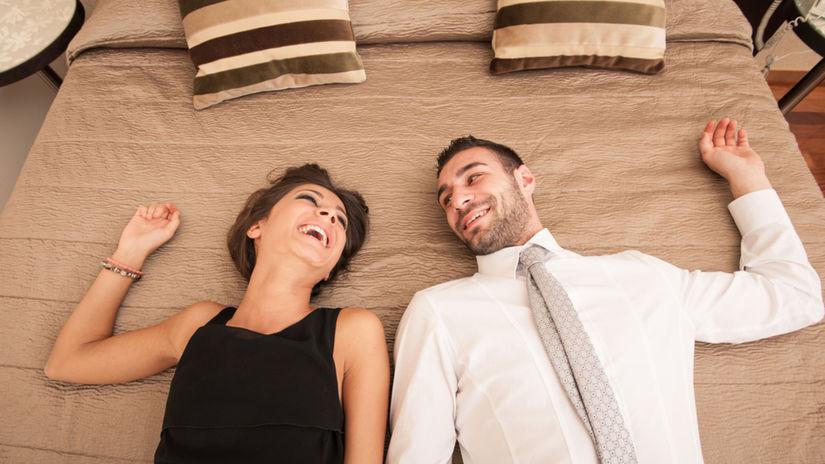 hotel, posteľ, pár
