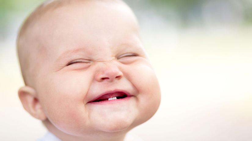 dieťa, úsmev, zuby