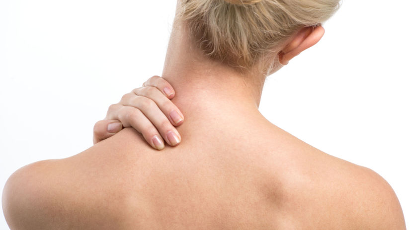 masáž, bolesti, žena, krk
