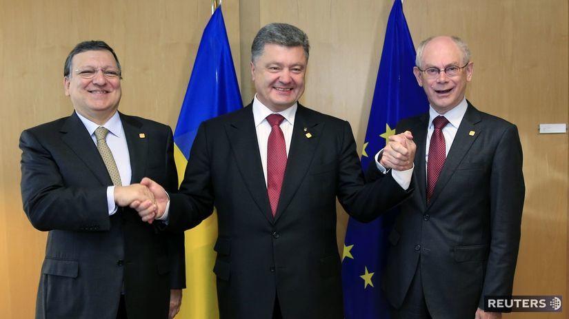 Porošenko, Barroso, Rompuy