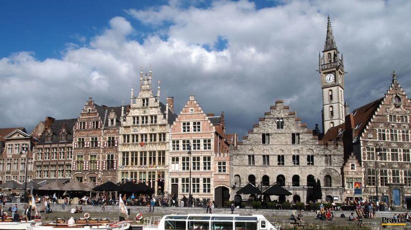 Gent, kanál, Belgicko, Flámsko