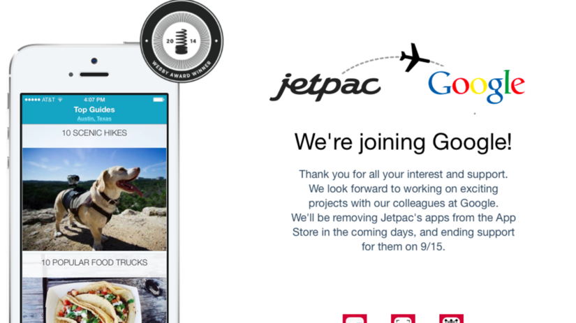 Jetpack, turistický sprievodca, Google