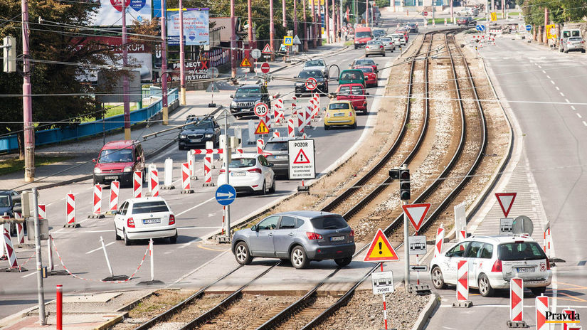 doprava, zápcha, Karlova Ves, Bratislava, cesta
