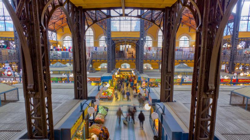 Budapešť, Veľká tržnica, Maďarsko, trhy