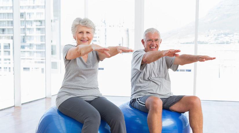 staroba, dôchodcovia, cvičenie, fitlopta, seniori
