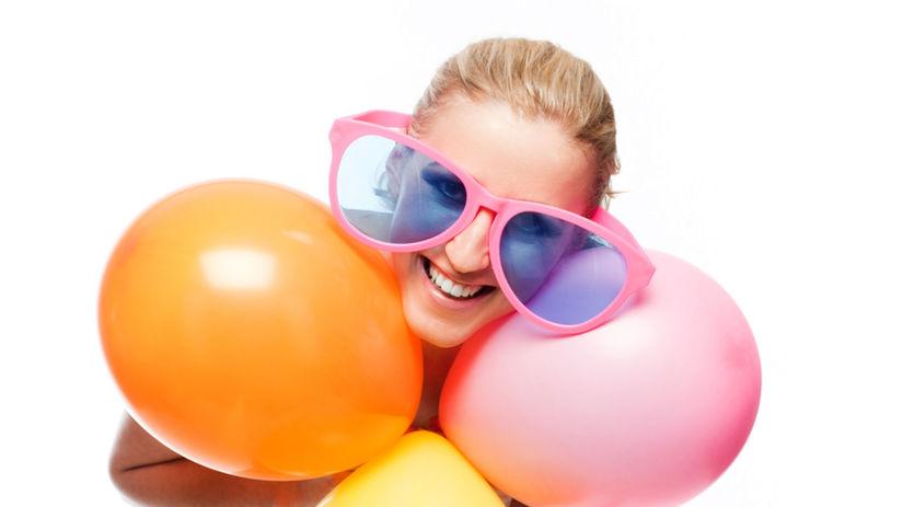 farby, balóny, žena, párty