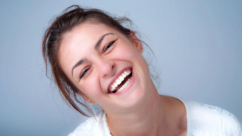 smiech, žena, úsmev, zuby