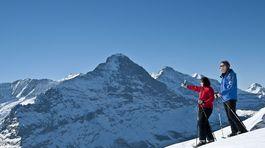 Grindelwald, Jungfrau Region, Svajciarsko, zima, dvojica, hory,