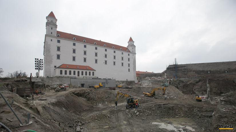 Bratislavský hrad, stavba garáže,