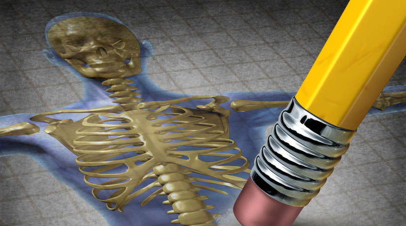 kosti, kostra, osteoporóza, ceruzka, guma