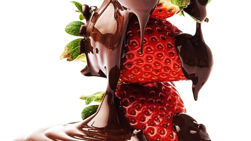 čokoláda, jahody