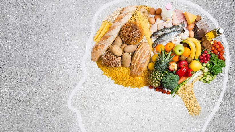 potraviny, jedlo, hlava, mozog, myslenie, hlad