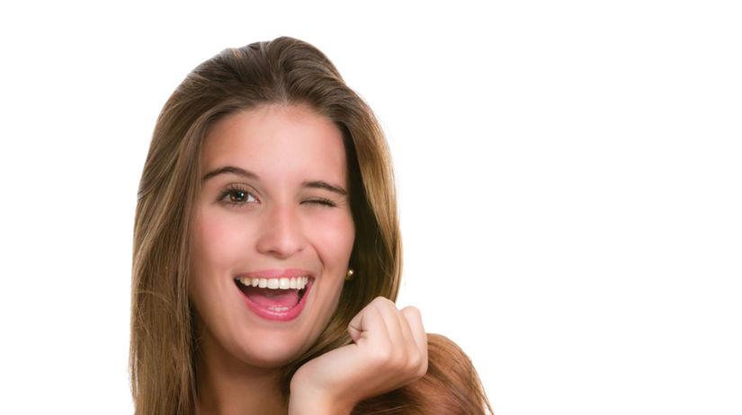 dievča, úsmev, žena,
