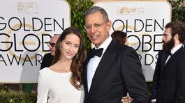 Herec Jeff Goldblum so svojou tehotnou manželkou Emilie Livingston.