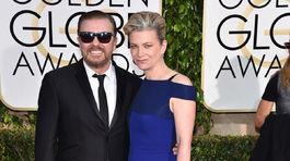 Moderátor Ricky Gervais a jeho manželka Jane Fallon.
