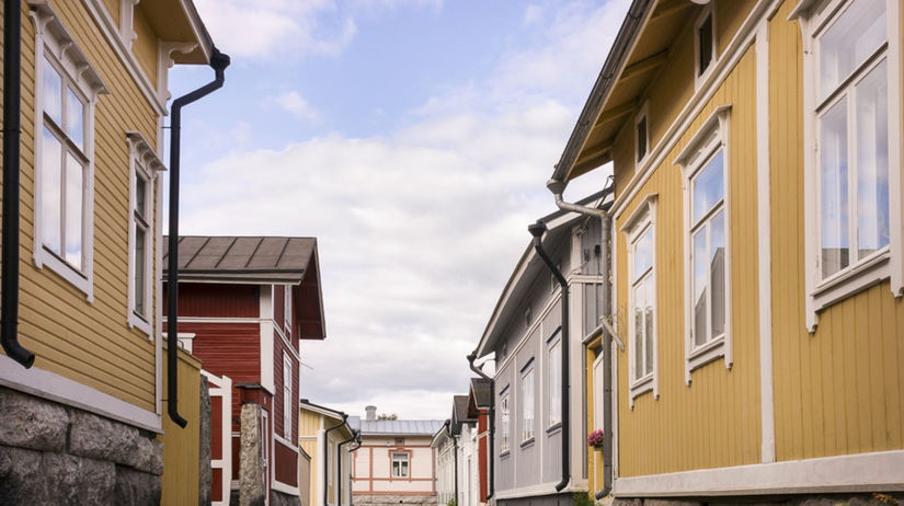 Rauma, drevo, domy, ulica,