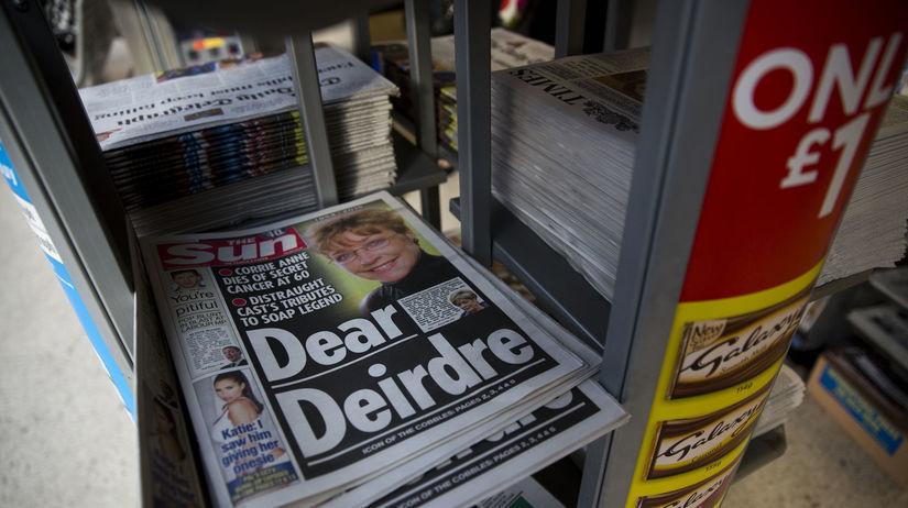 Ilustračný záber novín The Sun z Veľkej Británie.