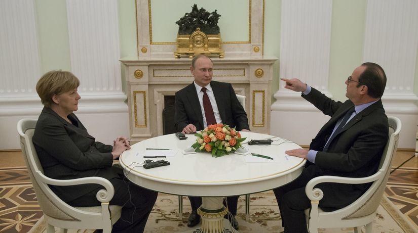 Putin, Merkelová, Hollande