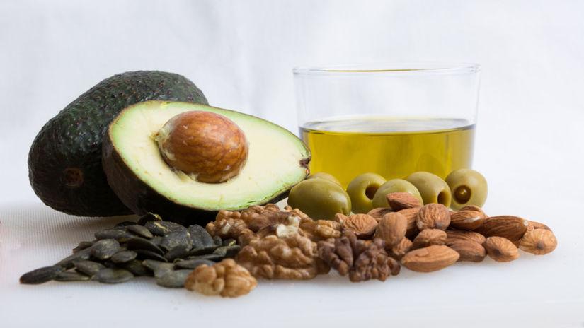 zdravé tuky, avokádo, olivy, orechy, semená...