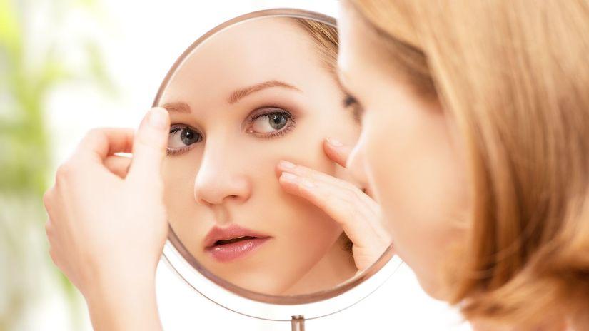 kozmetika, make up, žena, zrkadlo, oko, pleť,...