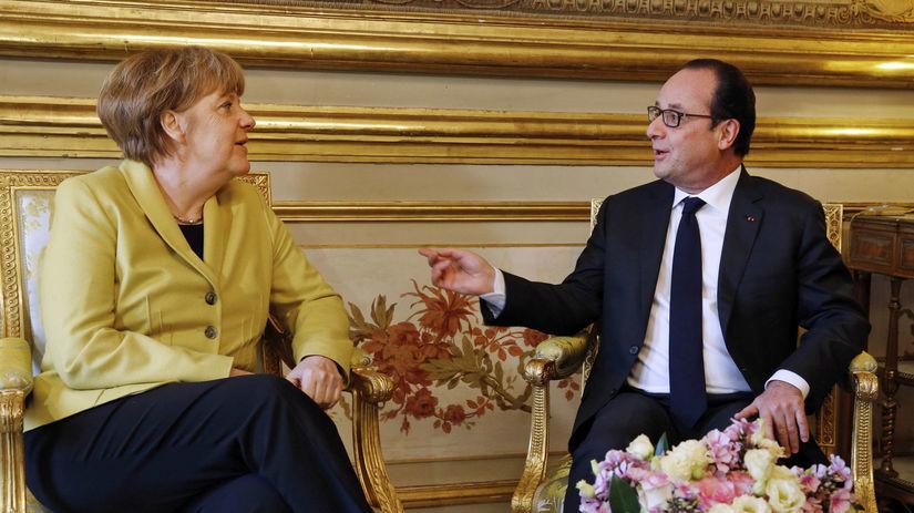 Francois Hollande, Angela Merkelová