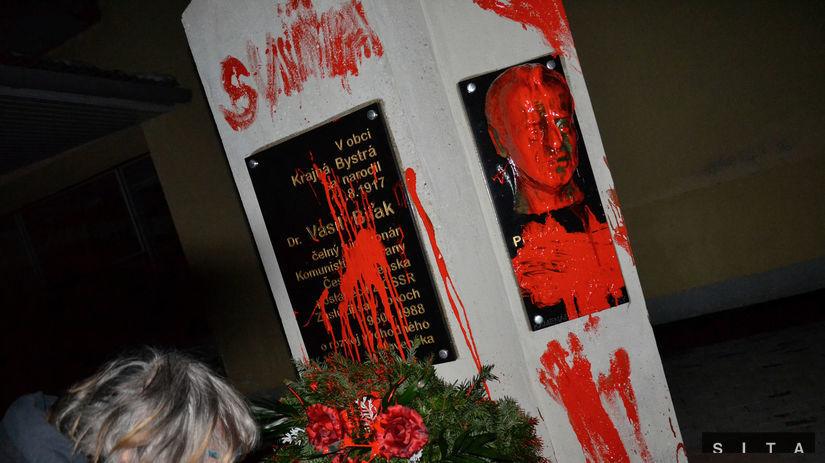 Vasil Biľak, pomník, poškodený, červená farba,...
