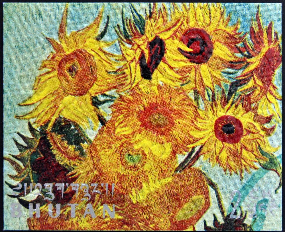 známka, Bhután, Slnečnice, Vincent Van Gogh