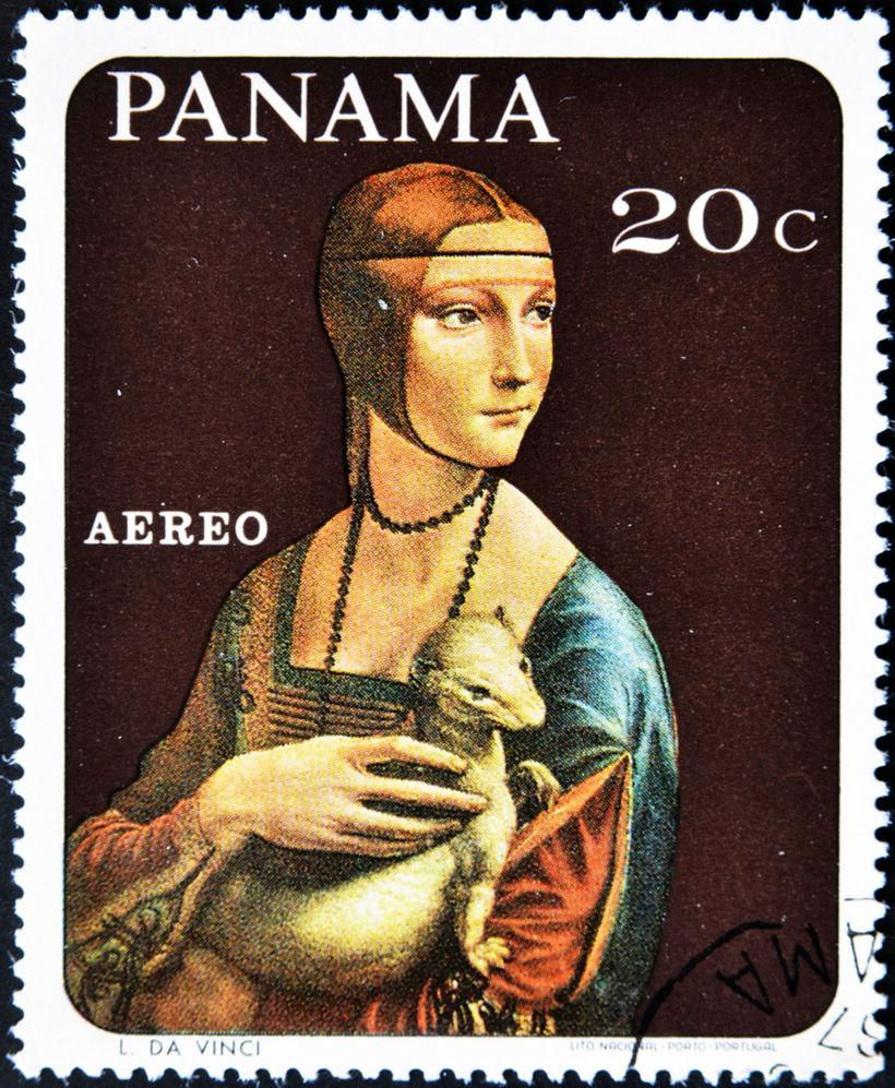 známka, Panama,  Leonardo da Vinci - Dáma s hranostajom