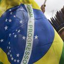 Brazília, protesty, demonštrácie, vlajka, indián