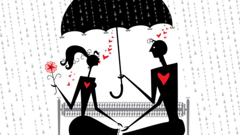 rande, láska, láska v daždi