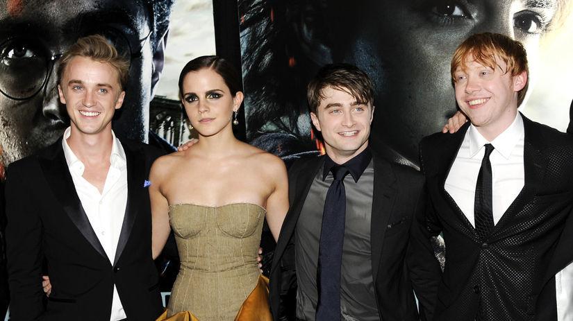 Emma Watson, Daniel Radcliffe a Rupert Grint na...