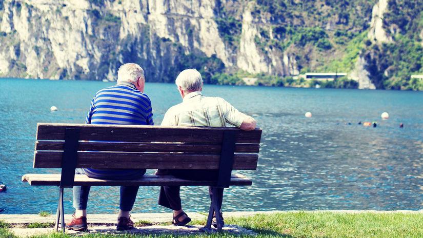 dôchodok, dôchodca, lavička, jazero, priatelia,...