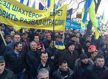 baníci, ukrajina, protest, demonštrácia