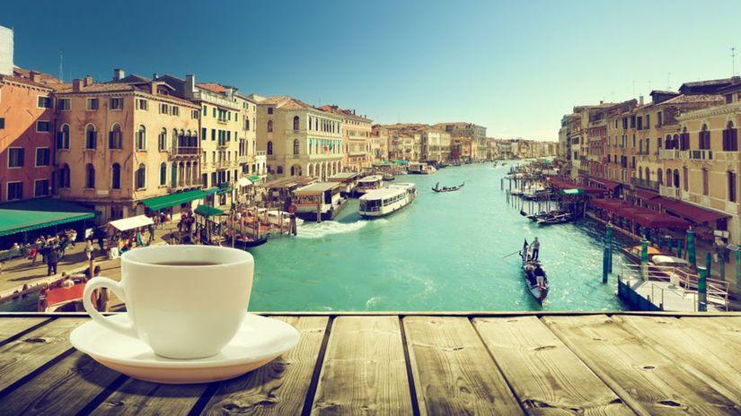 Benátky, káva, kanál, Taliansko, gondoly, šálka