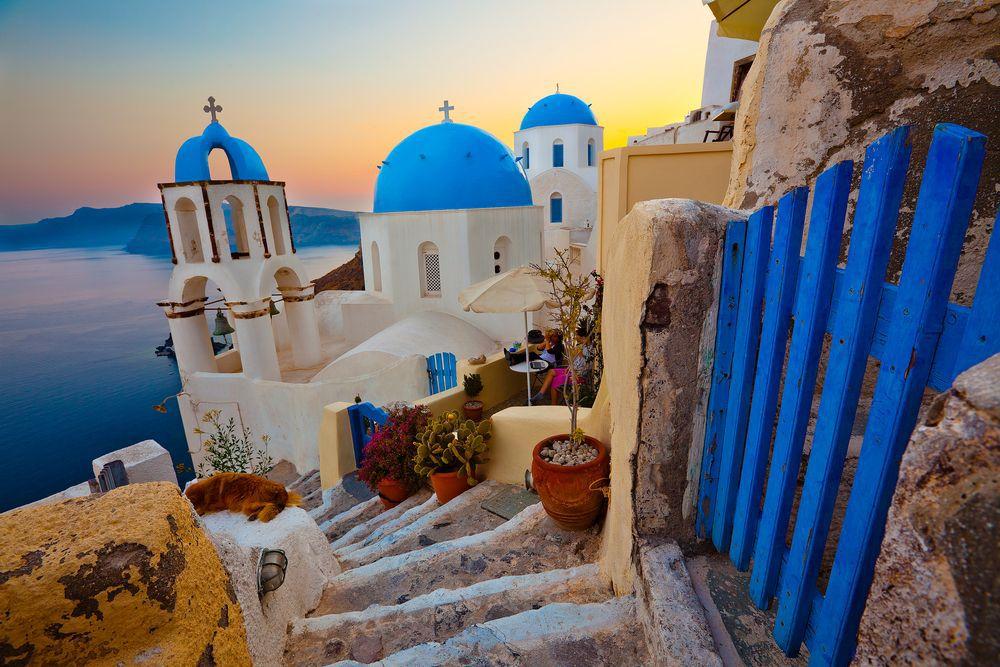 Santorini, ostrov, more, slnko, leto, kúpanie, dovolenka, grécko