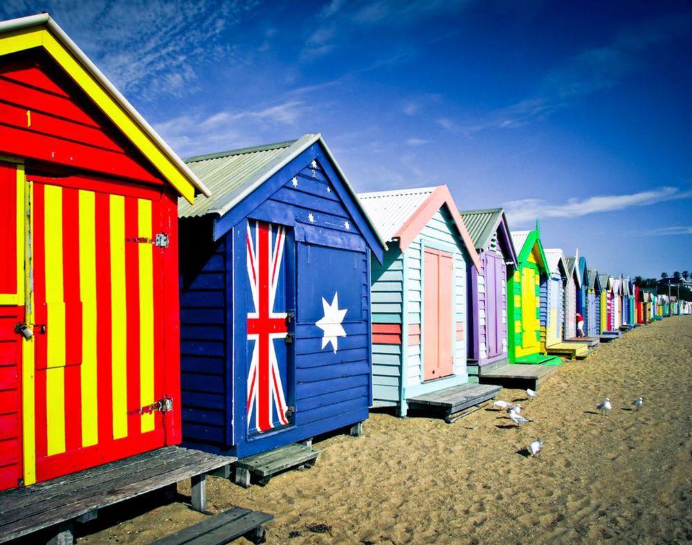 Brighton Beach, Melbourne, Austrália, pláž, more,