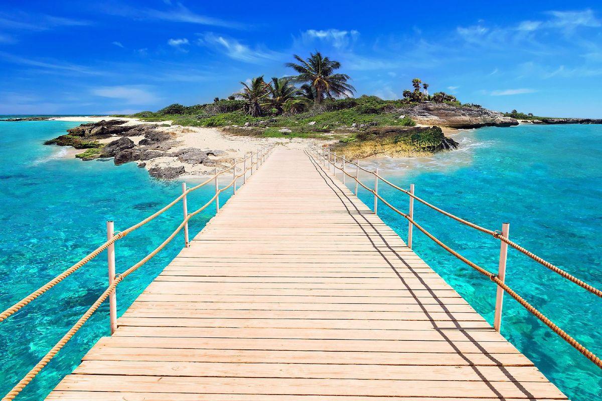 ostrov, more, dovolenka, voda, palmy, exotika, most, kúpanie, slnko, relax, opaľovanie, slnenie, moré nebo, obloha, samota, súkromie