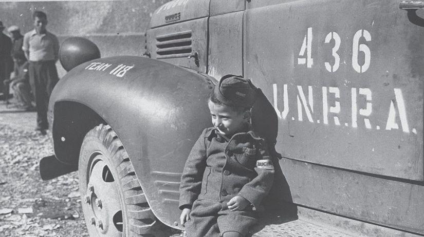 unrra, dieťa, kamión, nákladiak