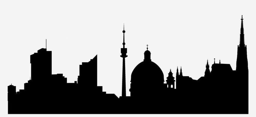 12 silueta, mesto, obrys, skyline, tvary, domy, Viedeň, Rakúsko