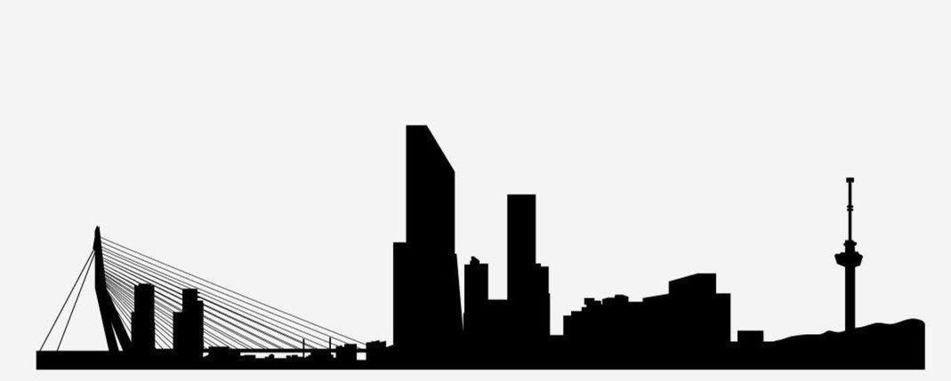 15 silueta, mesto, obrys, skyline, tvary, domy, Rotterdam