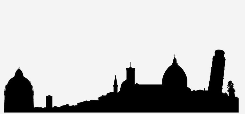 17 silueta, mesto, obrys, skyline, tvary, domy, Pisa, Taliansko