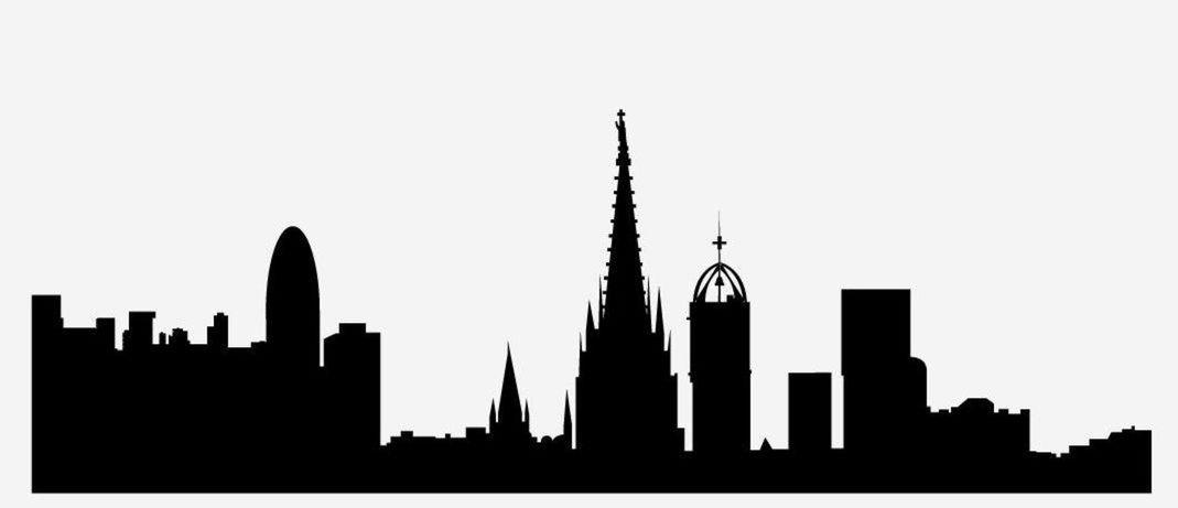20 silueta, mesto, obrys, skyline, tvary, domy, Barcelona, Španielsko