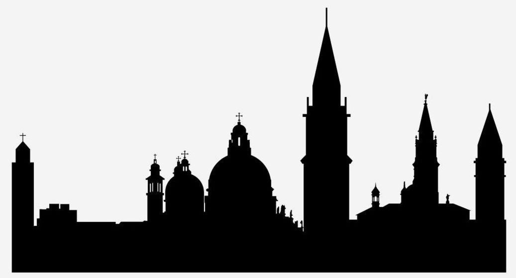 25 silueta, obrys, mesto, tvary, budovy, domy, Benátky, Taliansko