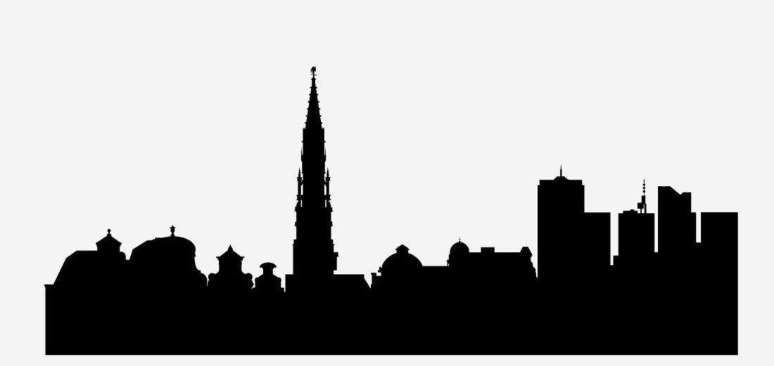 8 silueta, mesto, obrys, skyline, tvary, domy, Brusel, Belgicko