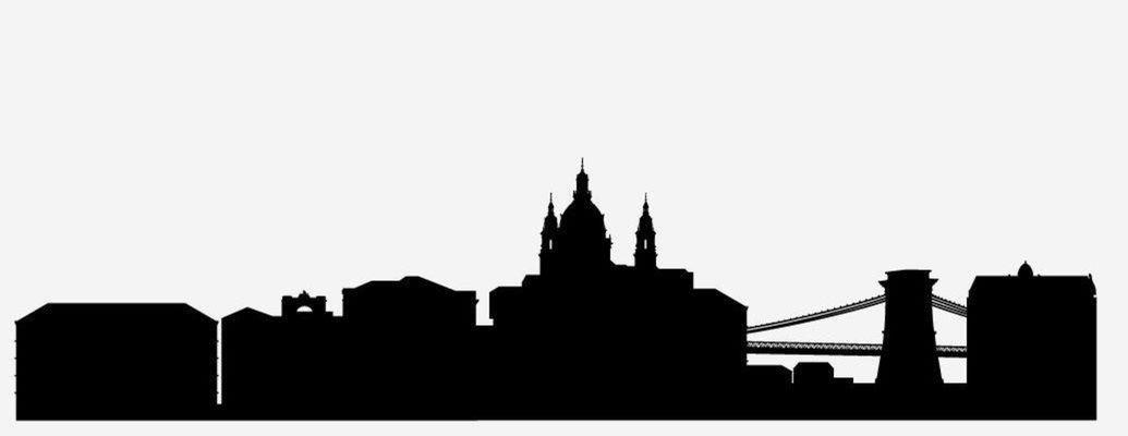 9 silueta, mesto, obrys, skyline, tvary, domy, Budapešť, Maďarsko